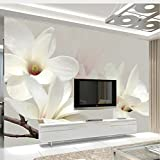 Lifme Custom Photo Mural Wallpaper Modern Fashion Lily Flower 3D White Magnolia Flower Wall Painting Living Room Wall Murals Wallpaper-350X250Cm