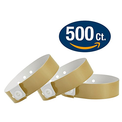 WristCo Gold Vinyl Wristbands - 500 Pack Wristbands For Events