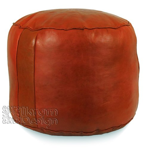 Moroccan Pouf, Tabouret Pouffe, Ottoman, Poof, Color : Dark Orange