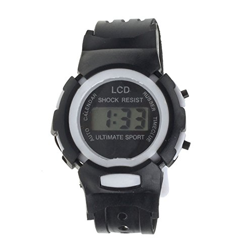 GOTD Boys Girls Students Time Sport Electronic Digital LCD Wrist Sport Watch (Black)