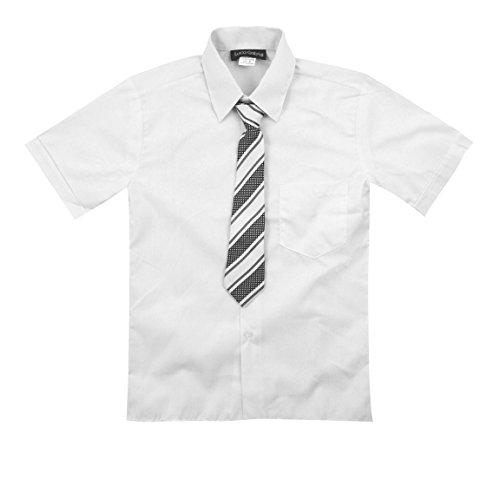 Luca Gabriel Toddler Boy's Short Sleeve Formal Button Down Dress Shirt & Tie Set - White 2t by Luca Gabriel