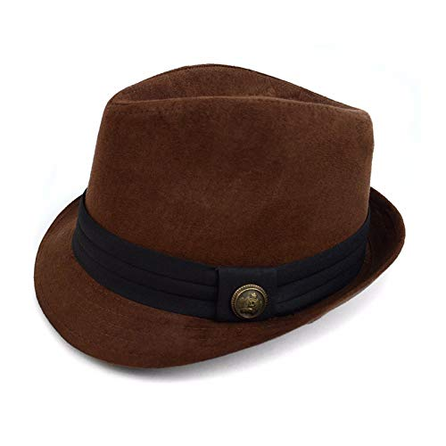 WESTEND Men's L/XL Winter Trilby Faux Suede Fedora Hat with Button Accent & Band Trim (Brown)