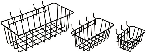 Set of Wire Baskets can be used on the wall for bedside storage in a small space
