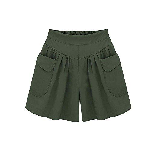 corti maniche alta donna con vita da keephen Pantaloncini da donna Army Green alta lunghe a vita a AqxFRT8