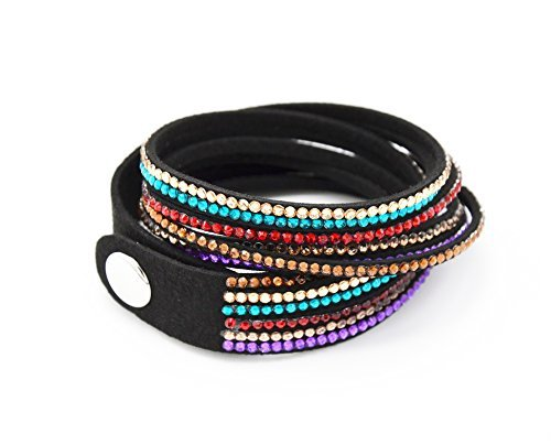 BCS-R608 - Bracelet Slake Double Tour 6 Rangs Strass Multicolore - Mode Fantaisie