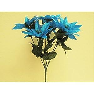 JumpingLight 4 Bushes Turquoise Xmas Poinsettia 7 Artificial Silk Flowers 12'' Bouquet 2112TQ Artificial Flowers Wedding Party Centerpieces Arrangements Bouquets Supplies 97