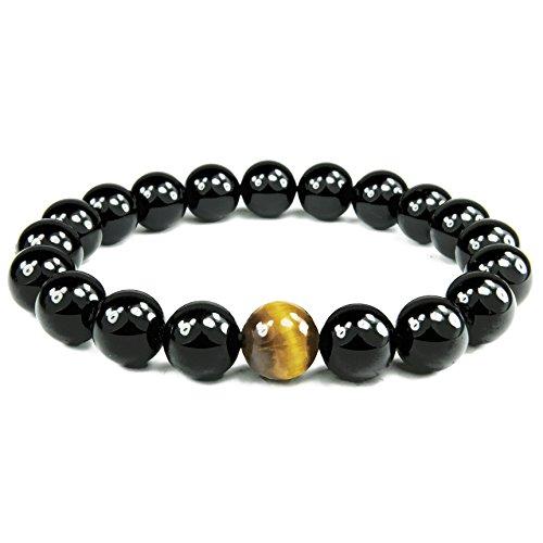 ONE ION Golden Eye Black Tourmaline Bracelet - Premium 10mm Tourmaline Tiger Eye - 3 sizes (9 Inches)