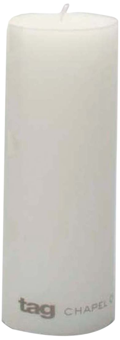 Tag 100066 3-Inch by 8-Inch Unscented Long Burning Pillar Candle, White