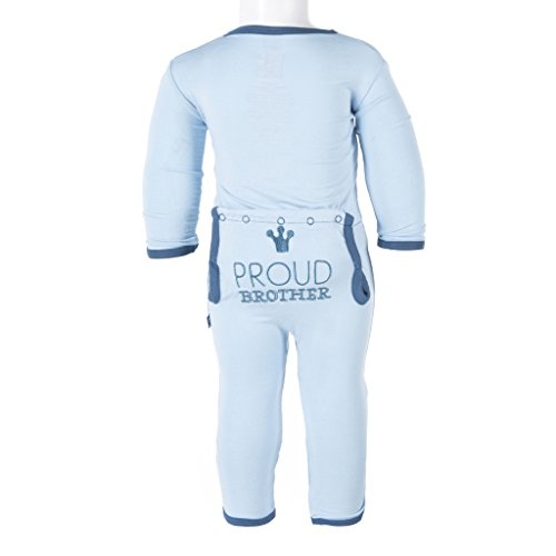 KicKee Pants Baby Boys' Applique Coverall Fitted, Pond Proud Brother, 6-12 Months