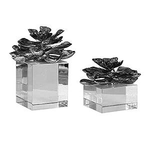 Silk Flower Arrangements Argon Lights The Indian Lotus Metallic Silver Flowers S/2 by David Frisch