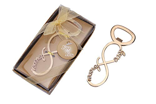 20 pcs Gold Tone Bottle Openers Wedding Favors Decorations, Gift Box, Bow Knot Shaped with Love, Party Supplies