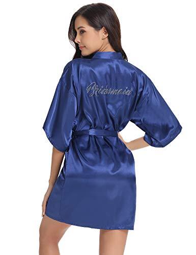 Vlazom Bride Bridesmaid Robes Silk Bridal Party Kimono Robes Glitter Bridesmaid Gift for Wedding -