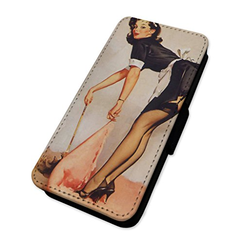 Retro sexy pin Up Girl – Custodia ad aletta in pelle copertura di carta Apple Iphone 8