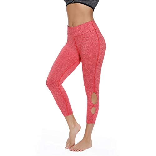 - High Waist Women Capris Leggings - Power Stretch Workout Running Athletic Yoga Pants (L, Pink)
