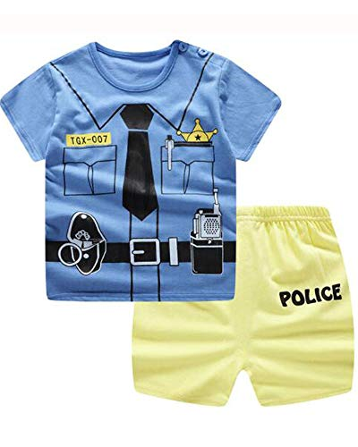Unisex Baby Boys Girls 2-Piece Cotton Pajama Sleepwear Outfits Set(12-18 Months,Police)