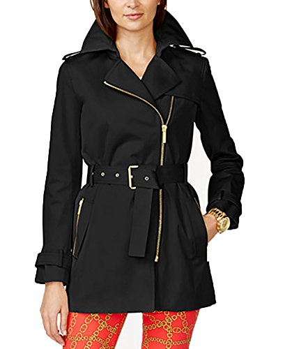 MICHAEL Michael Kors Short Zip Trench Coat (3x, Black) (Michael Kors Trench Coat)