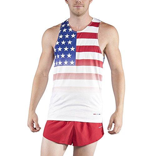 BOA Men's Patriot Print Running Singlet (2610P) (US Flag, - Shorts Us Flag Running