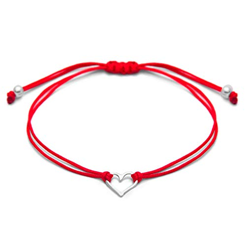 (Claudia Lira Joyas Red Womens Friendship Bracelet, Small Sterling Silver 925 Open Heart Shaped Charm, Pull Adjustable Kindred Cord Thread, Handmade in Peru)