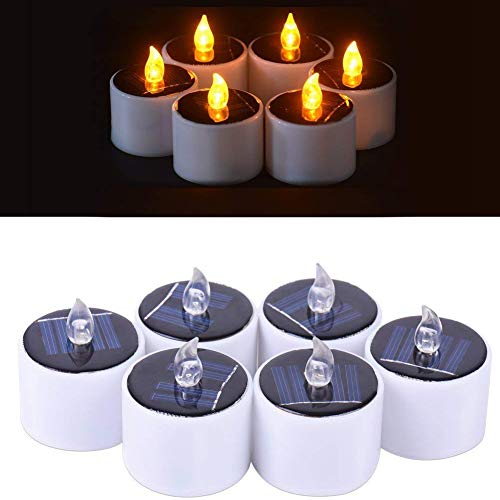 Favson Solar LED Tealight Candles Flameless Flickering Solar Tealights Operated 6Pcs Suitable for Festival Home Decoration Party Night Light Outdoor Activities Emergency Lights Gift (Yellow Light) by Favson