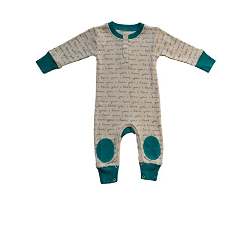 Cat & Dogma - Certified Organic Infant/Baby Clothes ILY/Teal Playsuit (12-18 Months)