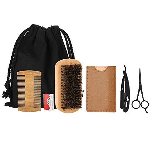Cimenn 6PCS/Set Portable Men Beard Styling Shaping Shaving Brush Comb Scissor Mustache Care Tool