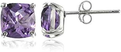 Sterling Silver 5mm Cushion-Cut Gemstones Stud Earrings, Choice of Colors