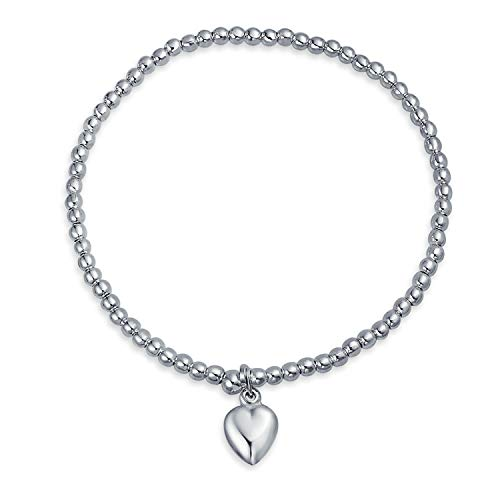 Bracelet Plated Silver Beaded Stretch (Heart Tag Charm 3MM Ball Bead Stretch Bracelet For Women Teens 925 Sterling Silver Adjustable)
