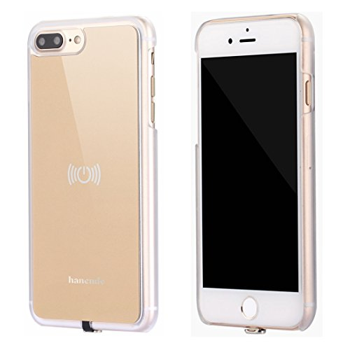Wireless Receiver Case for iPhone 7 Plus, hanende Qi Wireless Charging Case with Flexible Lightning Connector (Gold)