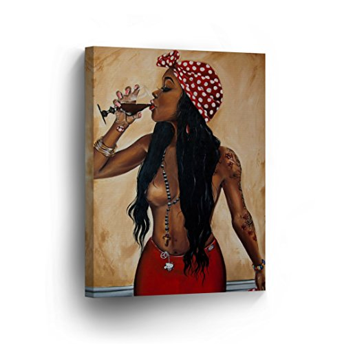 Half Nude Hot African Woman is Drinking a Glass of Wine Oil Painting Canvas Print Decorative Art Wall Decor Artwork Wrapped Wood Stretcher Bars - Ready to Hang%100 Made in ()
