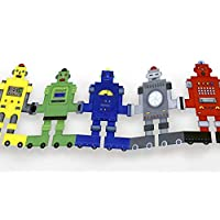 Delightful Paper Doll Chains - Set of two Colorful retro robots garlands