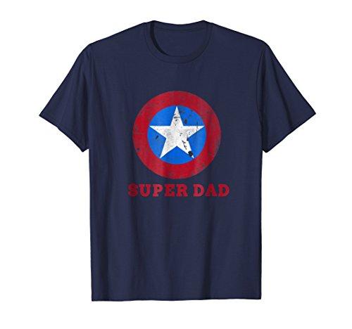 Mens Super Dad T-Shirt Funny Superhero Father's Day Tshirt 3XL (Navy Blue Super Dad T-shirt)