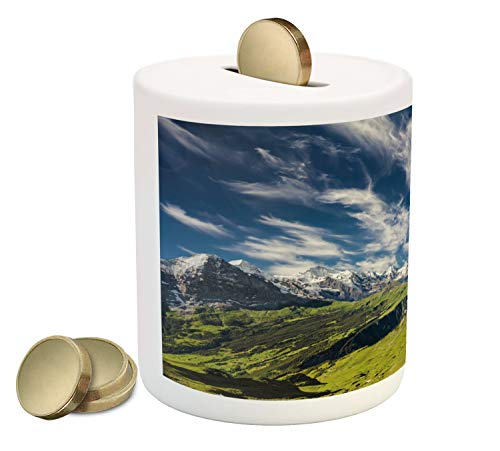 Ambesonne Switzerland Piggy Bank, Panoramic View of The Swiss Alps Idyllic Nature Photography Mountain Region, Printed Ceramic Coin Bank Money Box for Cash Saving, Multicolor