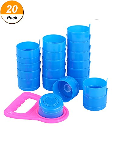 Hestya 20 Pieces Non Spill Caps, Reusable 55 mm 3 and 5 Gallon Water Jugs Anti-Splash Bottle Caps with 1 Piece Water Bottle (Three Jug)