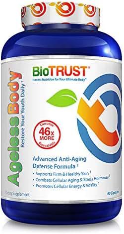 BioTrust Ageless Body Anti-Aging Supplement | Turmeric Curcumin Extract, CurcuWIN, Vitamin C, CoQ10 | Combats Cellular Aging | Non GMO, Soy Free & Gluten Free Formula | 60 Capsules