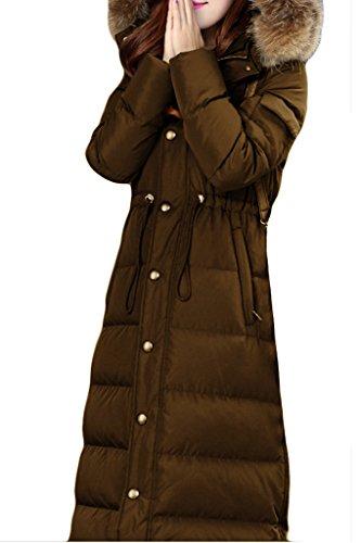 LYXCLS Women's Slim Fit Warm Duck Down Long Down Coat Deep Khaki