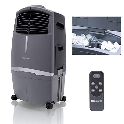 Honeywell 525-729CFM Indoor Outdoor Portable Evaporative Cooler with Ice Compartment & Remote, CO30XE, Grey