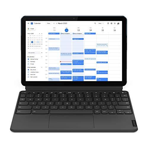 Lenovo IdeaPad Duet Chromebook 10.1 Inch 2-in-1 Laptop - (MediaTek P60T, 4 GB RAM, 64 GB eMCP, Chrome OS) - Ice Blue + Iron Grey (Renewed)