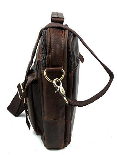 insum Hombre Piel Vintage Messenger Bag Marrón - chocolate