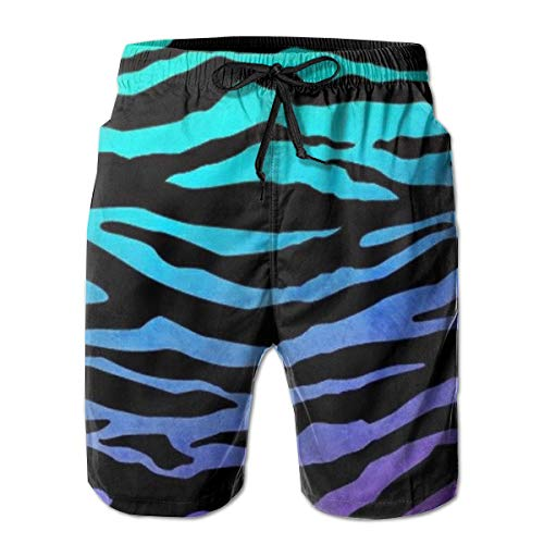 Purple Blue Green Camouflage Zebra Stripes Swim Trunks Boys Fit Cargo Short for Beach Outdoor Workout Fast Dry Adjustable Drawstring Essentials Board Shorts with Pocket Beachwear