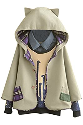 Aza Boutique Women's Cute Button Down Tweed Cat Ears Hooded Cape