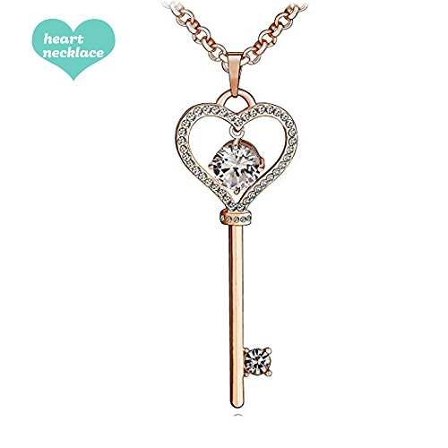 Scione Key Heart Necklace For Women Crystal Chain Pendant Necklace Gold Rose Mother S Day Gift