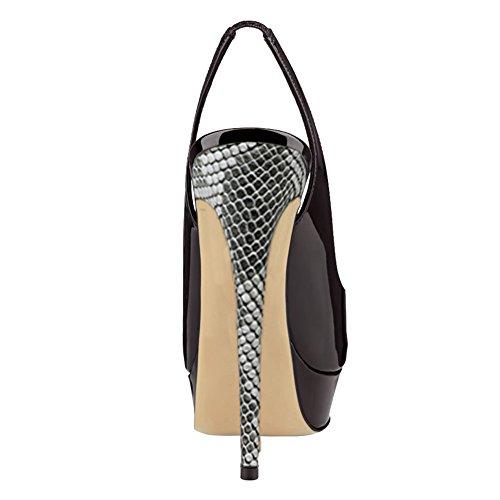 Merumote Scarpe Da Donna Con Tacco A Punta Aperta Scarpe Con Plateau Nero Con Pelle Di Serpente Grigia