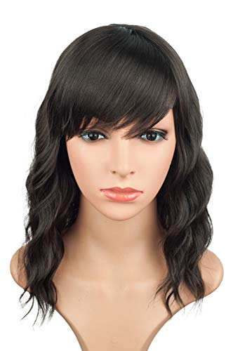 Dark Brown Short Natural Casual Wavy loose wave Side bangs hair wigs for black women 14 Inches