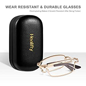 Healifty Folding Reading Glasses - 1.5X Pocket Reading Glasses- Portable, Compact - Presbyopic Glasses Reader Glasses with Protective Pocket Hard Case