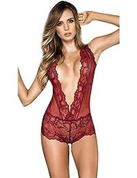 Women's Sexy Lingerie One Piece Eyelash Teddy Babydoll Sheer See Through Romper Bodysuits Sleepwear Nightwear