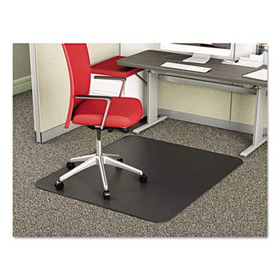 deflecto CM14242BLK SuperMat Frequent Use Chair Mat, Medium Pile Carpet, Beveled, 45 x 53, Black ()
