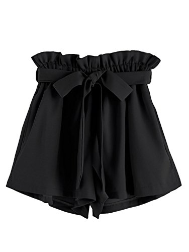 Clothes Tie Black (MakeMeChic Women's High Waist Casual Frill Loose Self-Tie Shorts Black One Size)