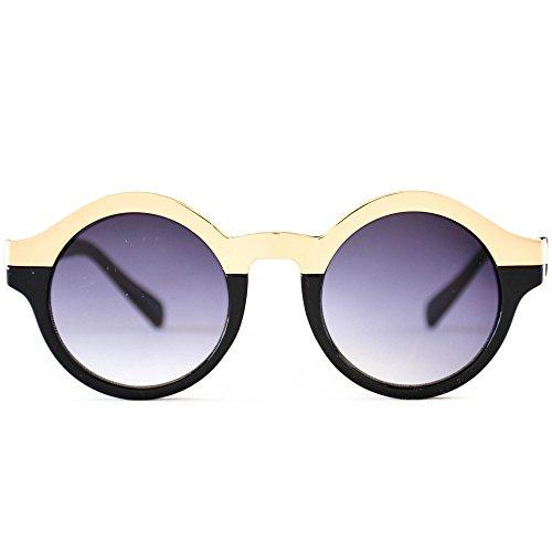 Womens New Fashion Vintage Half Metal Round Frame Retro - Nyc Sunglasses Vintage