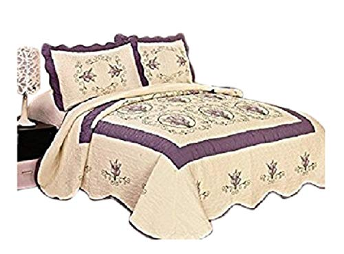 FineHome 3pcs Fully Quilted Embroidery Quilts Bedspread Bed Coverlets Cover Set, Queen King (Beige/Purple) by FineHome