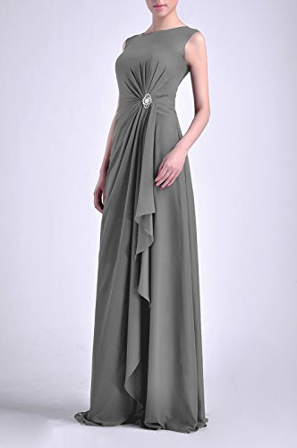 Adorona Long Dress Women's Natrual Straps Pewter Chiffon Bateau Sheath Sleeveless qrCFqaxw